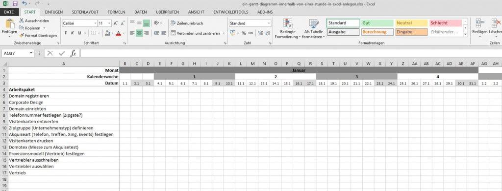 Gantt-Diagramm in Excel