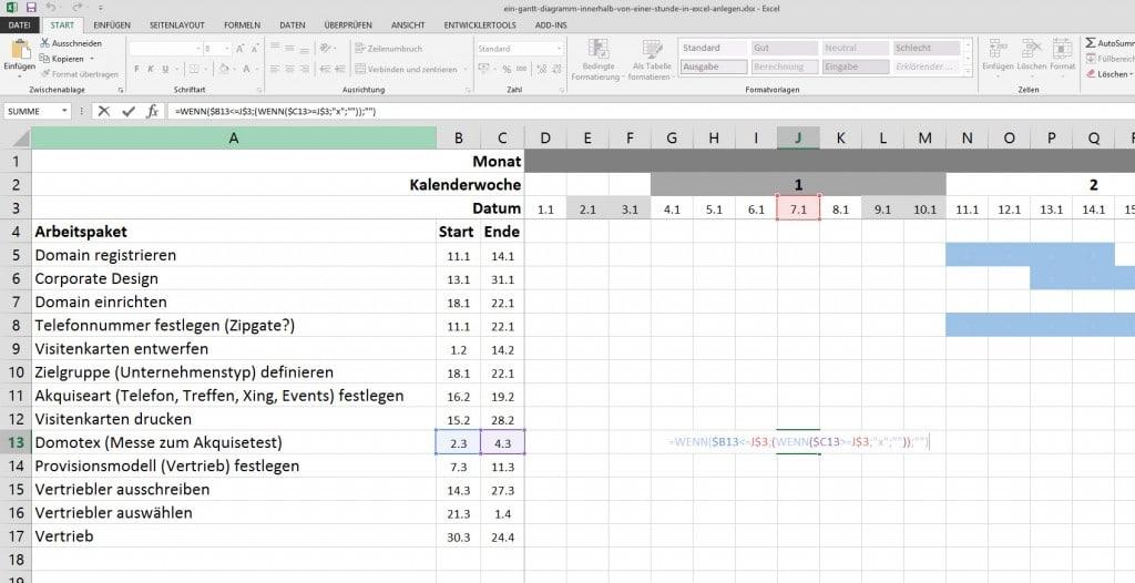 Projektmanagement: ein Gantt-Diagramm innerhalb von 1 Stunde anlegen