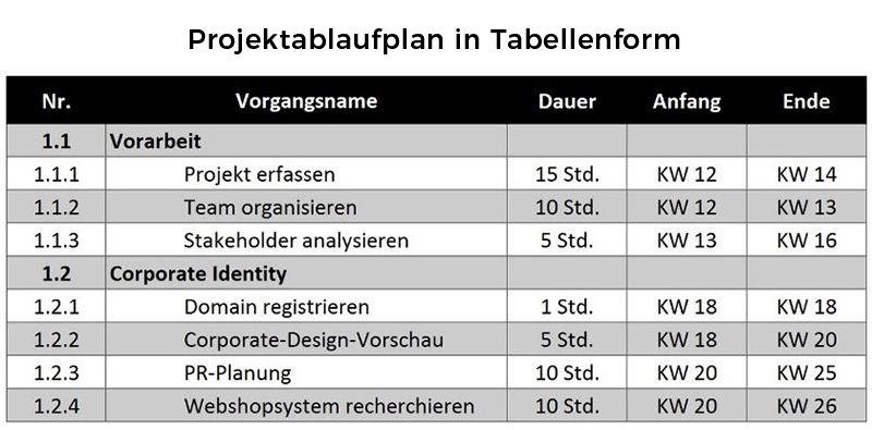 Projektablaufplan in Tabellenform